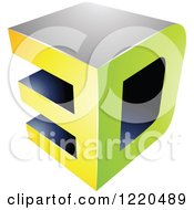 Clipart Of A 3d Icon In Green And Yellow 2 Royalty Free Vector Illustration