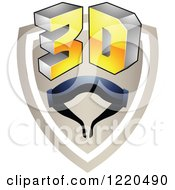 Clipart Of A 3d Icon Shield With Glasses 3 Royalty Free Vector Illustration by cidepix