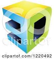 Clipart Of A 3d Icon In Green Blue And Yellow Royalty Free Vector Illustration