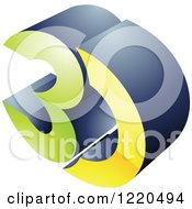 Clipart Of A 3d Icon In Green And Yellow Royalty Free Vector Illustration