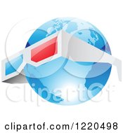 Clipart Of A Pair Of 3d Glasses Around A Blue Earth Globe Royalty Free Vector Illustration by cidepix