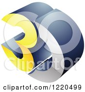 Clipart Of A 3d Icon In Yellow And Chrome Royalty Free Vector Illustration