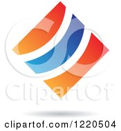 Clipart Of A Blue And Orange Abstract Diamond Royalty Free Vector Illustration