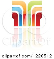 Clipart Of A Colorful Abstract Icon With A Reflection 8 Royalty Free Vector Illustration