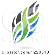 Clipart Of Black Green And Blue Abstract Flames Royalty Free Vector Illustration