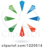 Clipart Of A Colorful Abstract Circular Icon And Shadow 5 Royalty Free Vector Illustration