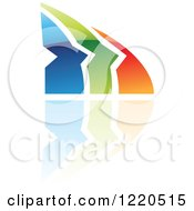 Clipart Of A Colorful Abstract Icon With A Reflection 6 Royalty Free Vector Illustration