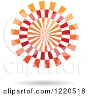 Clipart Of A Red And Orange Abstract Ray Circle Icon Royalty Free Vector Illustration