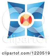 Clipart Of A Floating 3d Blue And Orange Abstract Icon Royalty Free Vector Illustration