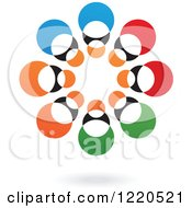 Clipart Of A Colorful Abstract Circular Icon And Shadow 2 Royalty Free Vector Illustration