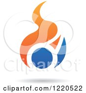 Clipart Of Orange And Blue Abstract Flames Royalty Free Vector Illustration