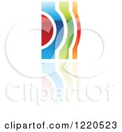 Clipart Of A Colorful Abstract Icon With A Reflection 3 Royalty Free Vector Illustration