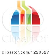 Clipart Of A Colorful Abstract Icon With A Reflection 4 Royalty Free Vector Illustration
