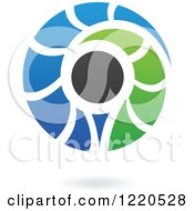 Clipart Of A Floating Abstract Green Black And Blue Icon Royalty Free Vector Illustration