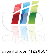 Clipart Of A Colorful Abstract Icon With A Reflection Royalty Free Vector Illustration