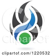 Clipart Of Black Green And Blue Abstract Flames 2 Royalty Free Vector Illustration