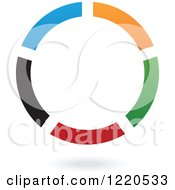 Clipart Of A Colorful Abstract Circular Icon And Shadow Royalty Free Vector Illustration
