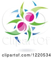 Clipart Of A Floating Plum Fruit And Leaf Icon 2 Royalty Free Vector Illustration