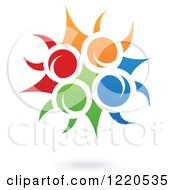 Clipart Of A Floating Colorful Fruit And Leaf Icon Royalty Free Vector Illustration