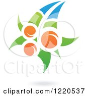 Clipart Of A Floating Orange Fruit And Leaf Icon 2 Royalty Free Vector Illustration
