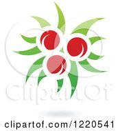 Clipart Of A Floating Red Apple Fruit And Leaf Icon Royalty Free Vector Illustration by cidepix