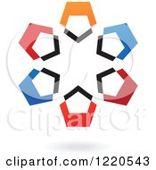Clipart Of A Colorful Abstract Circular Icon And Shadow 7 Royalty Free Vector Illustration
