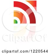 Clipart Of A Colorful Abstract Icon With A Reflection 10 Royalty Free Vector Illustration