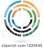 Clipart Of A Colorful Abstract Circular Icon And Shadow 3 Royalty Free Vector Illustration