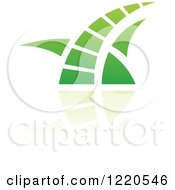 Clipart Of A Green Grass And Reflection Icon 2 Royalty Free Vector Illustration