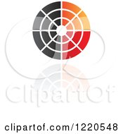 Clipart Of A Red Black And Orange Target And Reflection Icon Royalty Free Vector Illustration
