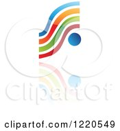 Clipart Of A Colorful Abstract Icon With A Reflection 7 Royalty Free Vector Illustration