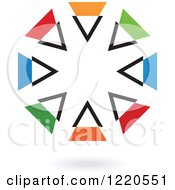 Clipart Of A Colorful Abstract Circular Icon And Shadow 4 Royalty Free Vector Illustration