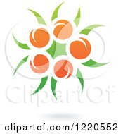 Clipart Of A Floating Orange Fruit And Leaf Icon Royalty Free Vector Illustration