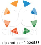 Clipart Of A Floating Abstract Orange Blue And Green Ring Icon Royalty Free Vector Illustration