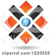Clipart Of A Floating Abstract Orange Black And Blue Icon Royalty Free Vector Illustration
