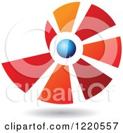 Clipart Of A Floating Red Blue And Orange Shell Icon Royalty Free Vector Illustration