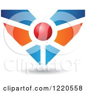 Clipart Of A Floating Red Blue And Orange Heart Icon 2 Royalty Free Vector Illustration by cidepix