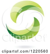 Clipart Of A Floating Abstract Green Icon Royalty Free Vector Illustration