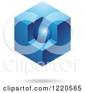 Clipart Of A Floating Blue 3d Cube With An Orb Royalty Free Vector Illustration