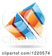 Clipart Of A 3d Abstract Orange And Blue Logo Royalty Free Vector Illustration