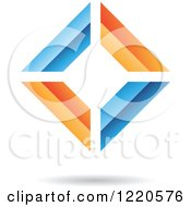 Clipart Of A 3d Orange And Blue Abstract Diamond Royalty Free Vector Illustration