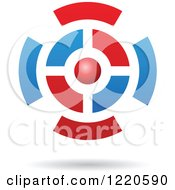 Clipart Of A Floating 3d Red And Blue Orb And Target Icon Royalty Free Vector Illustration