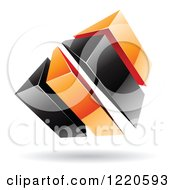 3d Abstract Black And Orange Logo