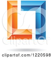 Clipart Of A Floating 3d Blue And Orange Square Icon Royalty Free Vector Illustration