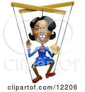 Clay Sculpture Clipart Condoleezza Rice Holding A Book On Iraq And Attached To Marionette Puppet Strings Royalty Free 3d Illustration by Amy Vangsgard #COLLC12206-0022