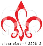 Clipart Of A Red Fleur De Lis Royalty Free Vector Illustration by cidepix