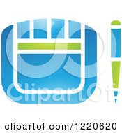 Clipart Of A Green And Blue Graphics Tablet And Stylus Royalty Free Vector Illustration