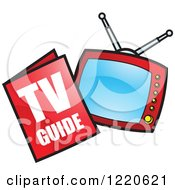 Clipart Of A Tv Guide Magazine And Television Royalty Free Vector Illustration