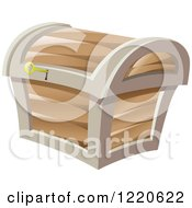Clipart Of A Key In A Treasure Chest Royalty Free Vector Illustration
