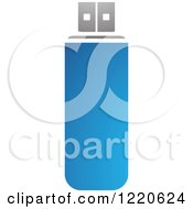 Clipart Of A Blue Usb Memory Stick Royalty Free Vector Illustration by cidepix